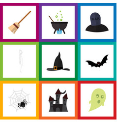 flat icon festival set of witch cap spinner vector image