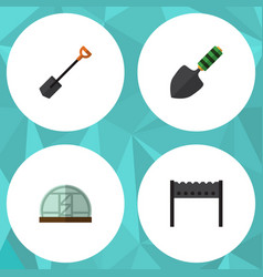 Flat icon garden set of barbecue spade trowel vector