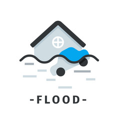 flat icon of flooded house and car natural vector image