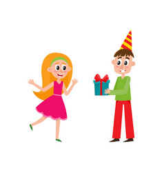 Flat man giving present box to girl vector