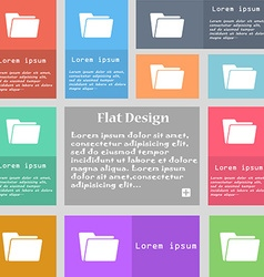 Folder icon sign Set of multicolored buttons with vector