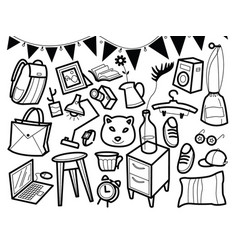 furniture hand drawn home accessories vector image