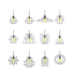 geometric loft lamps thin line icon set vector image
