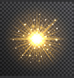 gold bokeh sunburst on transparent background vector image