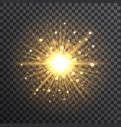 Gold bokeh sunburst on transparent background vector