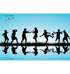 Group of children silhouettes playing outdoor near vector