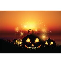 halloween pumpkin landscape vector image