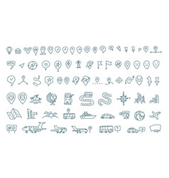Hand draw map set elements transport tracking vector