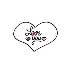 Hand-drawn heart love you icon vector