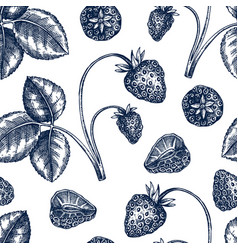 hand drawn strawberries backdrop in engraved vector image