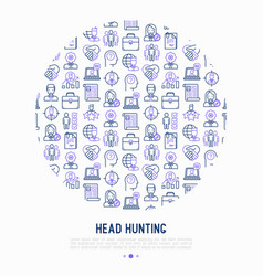 head hunting concept in circle vector image