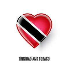 heart symbol with trinidad and tobago flag vector image