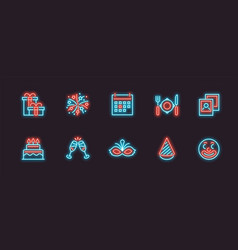 holiday festival and party icon set in neon vector image