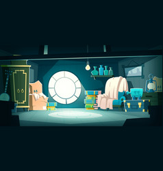 house attic with old furniture at night cartoon vector image