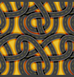 Intertwined asphalt road seamless pattern vector