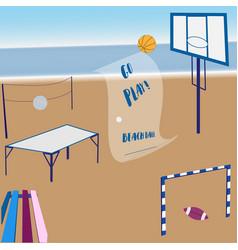 Inviting to play beach ball vector