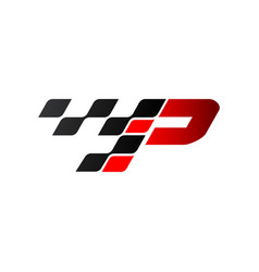 Letter p with racing flag logo vector