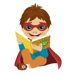 Little boy dressed as a superhero reading book vector