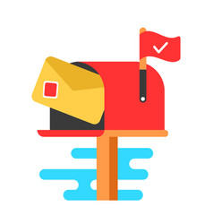 Mail box with letter flat cartoon vector