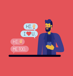 man chating with smartphone vector image