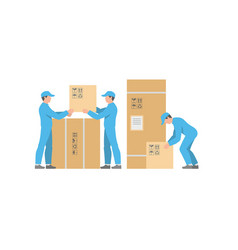 men delivery service with boxes vector image