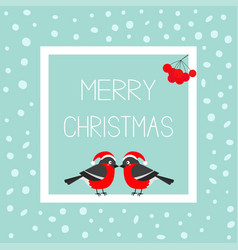 merry christmas greeting card bullfinch winter vector image