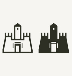 minimal castle buildings outline and solid icons vector image