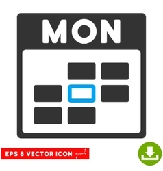 Monday Calendar Grid Eps Icon vector