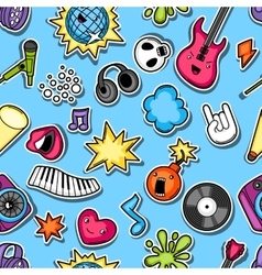 Music party kawaii seamless pattern Musical vector image