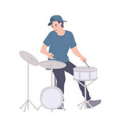 Musician drummer play musical instrument - drum vector