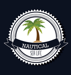 Nautical frame with tree palm vector