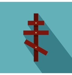 Orthodox cross icon flat style vector image