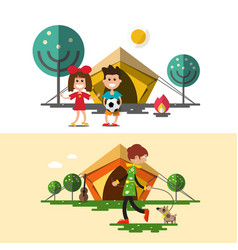 outdoors camping design with tent children fire vector image