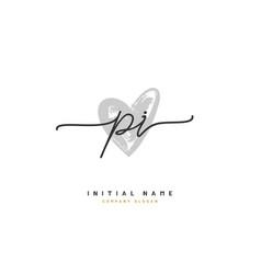 p i pi beauty initial logo handwriting logo vector image