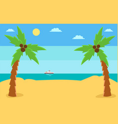 palm trees with coconut on island against the vector image