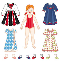 Paper doll and set of clothes - dresses and shoes vector
