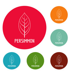 persimmon leaf icons circle set vector image