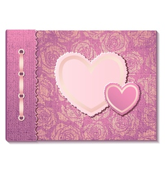 Photo album with hearts vector