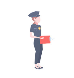 police woman icon female cop security guard vector image