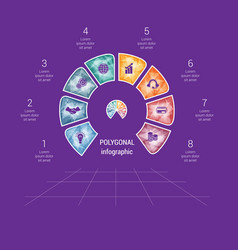 Polygonal semicircle template infographic 8 vector