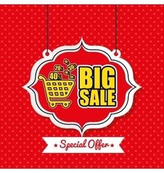 poster big sale shop cart vintage red polka dot vector image vector image