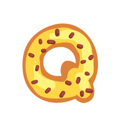 Q letter in the shape of sweet glazed cookie vector