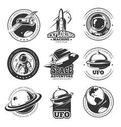 Retro space astronaut astronomy spaceship vector