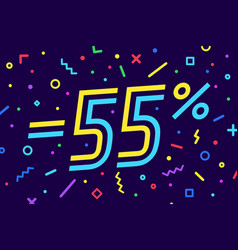 sale -55 percent banner for discount sale vector image