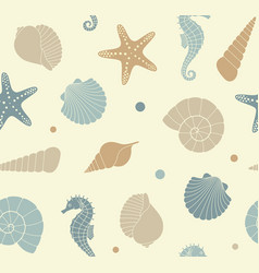 Seamless background with silhouettes of sea shells vector
