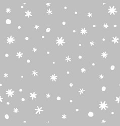 seamless pattern with doodle hand drawn snowflakes vector image