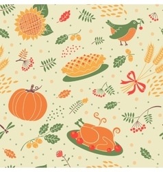 seamless pattern with pumpkins leaves wheat vector image