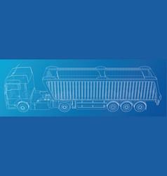 Semi-trailer dump truck sketch isolated on blue vector