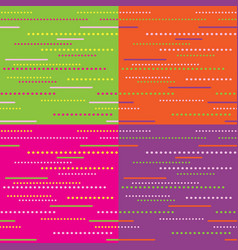 set of 4 dotted line seamless patterns vector image