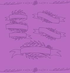 Set of doodle ornate floral ribbons vector image